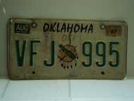 1997 OKLAHOMA OK License Plate VFJ 995