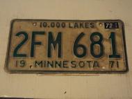 1971 1972 MINNESOTA 10,000 Lakes License Plate 2FM 681