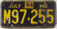 1961 Jul Missouri License Plate M97-255 DMV Clear