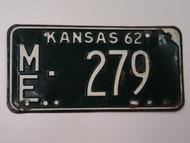 1962 KANSAS License Plate ME 279