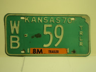 1970 KANSAS 8M Trailer License Plate WB 59