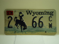 1999 Wyoming License Plate 2 66 CW