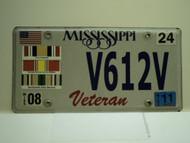 2011 MISSISSIPPI US Veteran License Plate V612V
