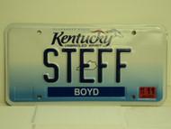 2013 KENTUCKY Unbridled Spirit VANITY License Plate STEFF