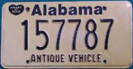 Alabama Antique Vehicle License Plate  157787 HOD