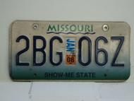 2008 MISSOURI Blue Fade Show Me State License Plate 2BG 067