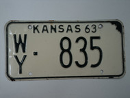 1963 KANSAS License Plate WY 835