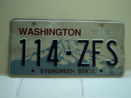 Washington Evergreen State License Plate 114 ZFS