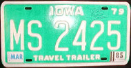 1985 Mar Iowa MS 2425 Travel Trailer License Plate