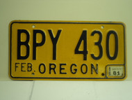 1981 OREGON License Plate BPY 430