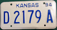 1994 Kansas Dealer License Plate D 2179 A