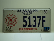 2011 MISSISSIPPI FireFighter Department License Plate 5137F