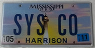 2011 May Mississippi Vanity License Plate SYSCO