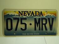 NEVADA Silver State License Plate 075 MRV