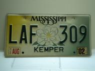 2002 MISSISSIPPI Magnolia License Plate LAF 309