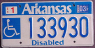 Arkansas Wheelchair 2003 License Plate 1