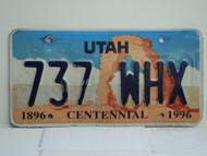 UTAH Centennial 1896 License Plate 737 WHX