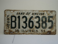 1956 ILLINOIS Land of Lincoln Front License Plate B136385