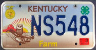 2007 Mar Kentucky Farm License Plate NS548