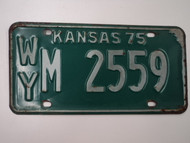 1975 KANSAS License Plate WY M 2559