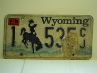 1999 WYOMING Bucking Bronco License Plate 1 535 CJ