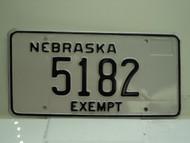 NEBRASKA EXEMPT License Plate 5182