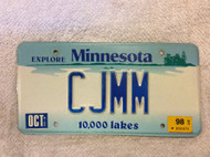 1998 Oct Minnesota Vanity CJMM 10,000 Lakes License Plate