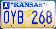 2001 Aug JO Kansas License Plate OYB 268