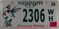 2010 Mississippi Wildlife License Plate 2306 WH