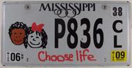 2009 Mississippi Choose Life P836 License Plate