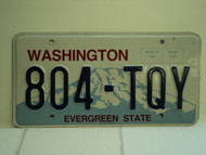 WASHINGTON Evergreen State License Plate 804 TQY