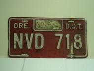 OREGON DOT Department of Transportation License Plate NVD 718