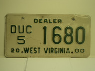 2000 WEST VIRGINIA Dealer Car License Plate DUC 5 1680