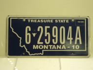 2010 MONTANA Treasure State License Plate 6 25904A