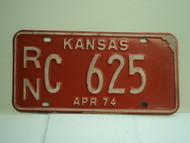 1974 KANSAS License Plate RN 625