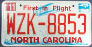 2008 Nov North Carolina License Plate WZK-8853