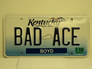 2012 KENTUCKY Unbridled Spirit VANITY License Plate BAD ACE