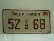 2002 NEBRASKA Commercial Truck License Plate 52 68 1
