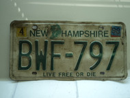 1998 NEW HAMPSHIRE Live Free or Die License Plate BWF 797