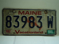 1996 MAINE Lobster Vacationland License Plate 83983 W