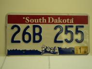 2001 SOUTH DAKOTA Mount Rushmore License Plate 26B 255