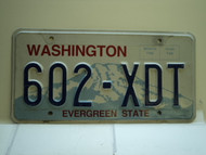 Washington Evergreen State License Plate 602 XDT