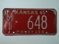 1965 KANSAS Midway USA License Plate MI 648