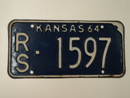 1964 KANSAS License Plate RS 1597