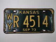 1973 KANSAS License Plate WY R 4514
