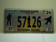 2012 MISSISSIPPI NATIONAL GAURD License Plate 57126
