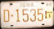 1988 Dec Iowa D-1535 DEALER License Plate