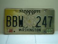 2003 MISSISSIPPI Magnolia License Plate BBW 247