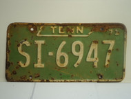 1971 TENNESSEE License Plate SI 6941