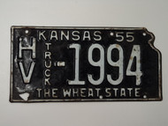 1955 KANSAS State Shaped Truck License Plate HV 1994
